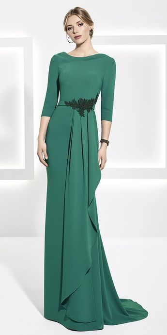 [128.99] Pretty Four Way Spandex Portrait Neckline 3/4 Length Sleeves Sheath/Column Mother Of The Bride Dress With Beadings & Sash