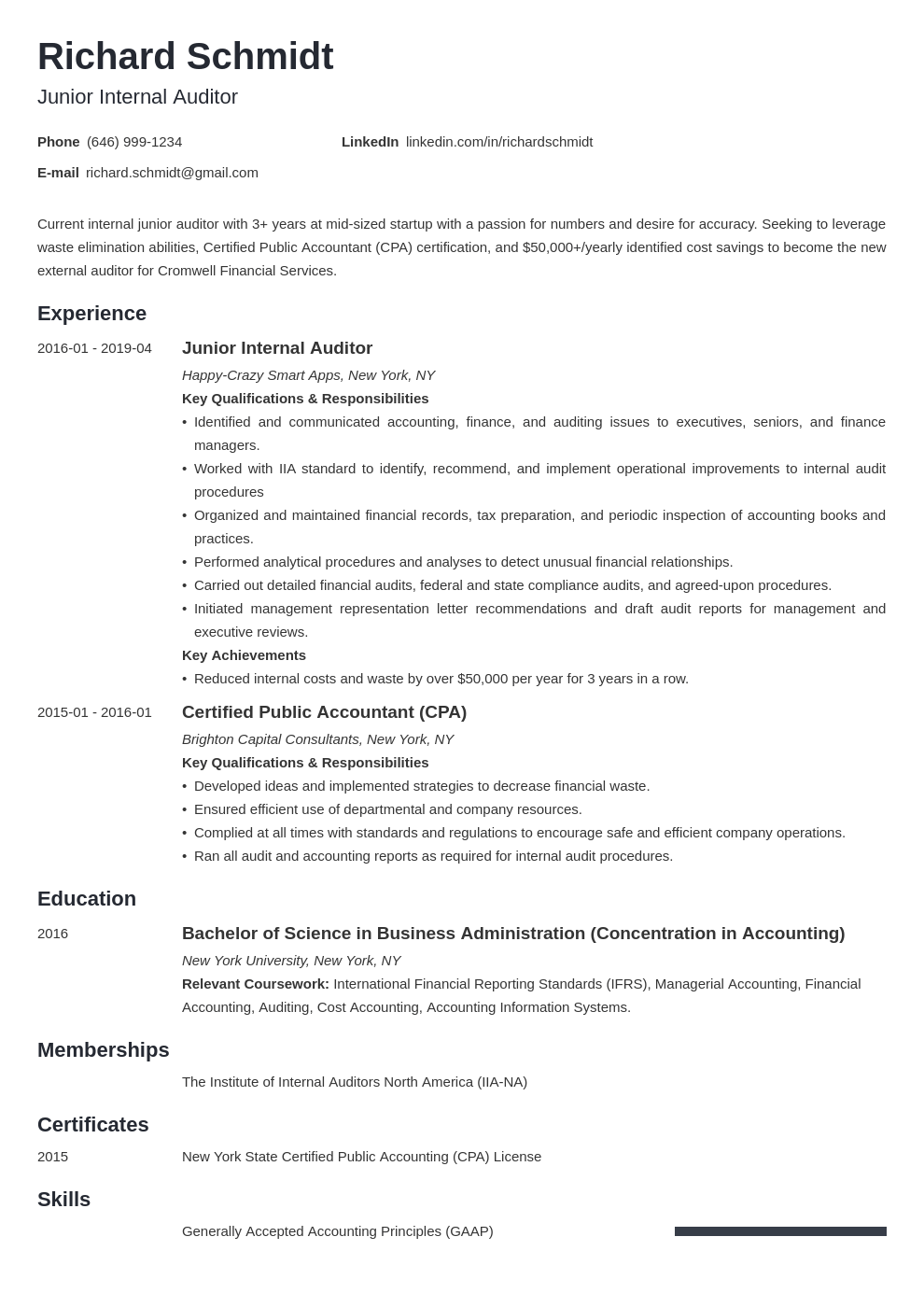 Auditor Resume Example Template Minimo In 2020 Resume Examples Job Resume Examples Resume