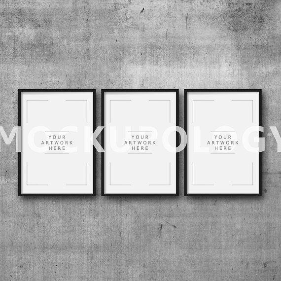 A3 A1 Set Of Three Vertical Digital Black Frame Mockup On Etsy Poster Mockup Mockup Free Psd Free Psd Mockups Templates