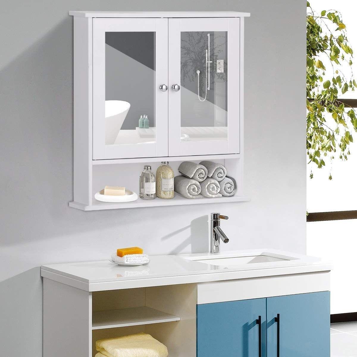 Bathroom Cabinet Home Kitchen Living Room Double Mirror Door Wall Mount Storage