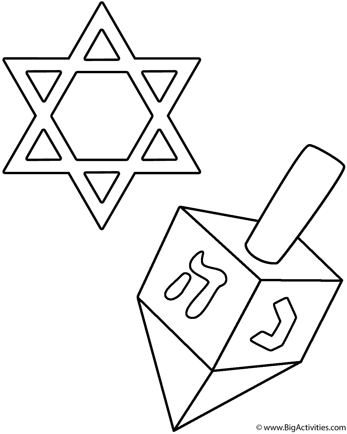 Dreidel And Star Of David Coloring Page Hanukkah Coloring Pages Hanukkah Star Of David