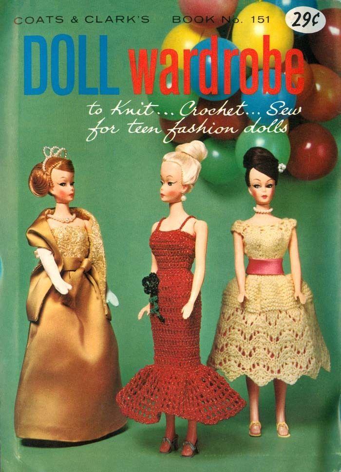 Vtg Early 60\'s Barbie Fashion Doll Wardrobe 30 Patterns Sewing Knit ...