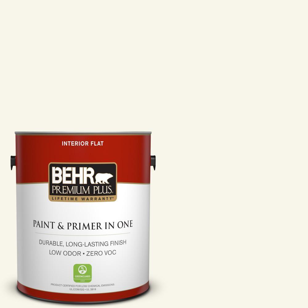 BEHR Premium Plus 1-gal. #OR-W15 Sleek White Flat Interior Paint