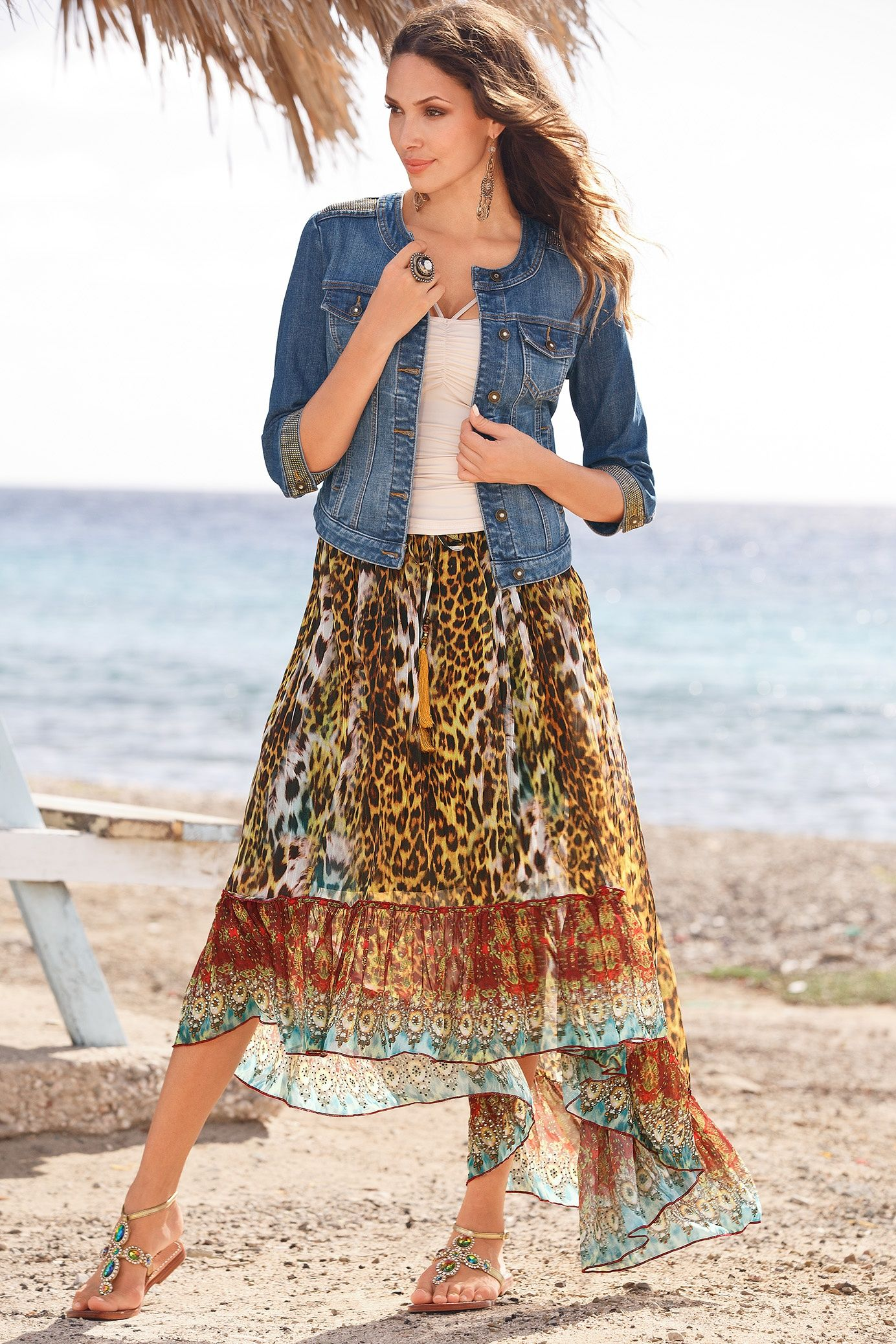 Embellished leopard hi-lo skirt. Perfectly packable Piece for a Curaçao getaway. #BostonProper #SpringFashion