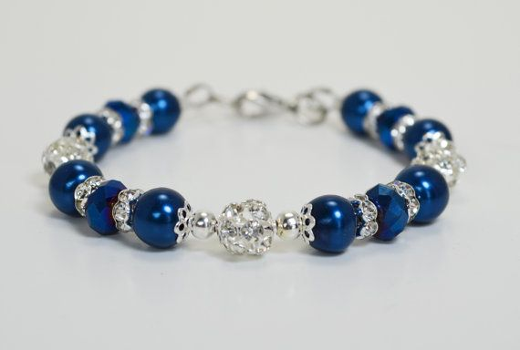 Royal Blue Bracelet With Rhinestones Bridal Crystal By Eienblue 13 50