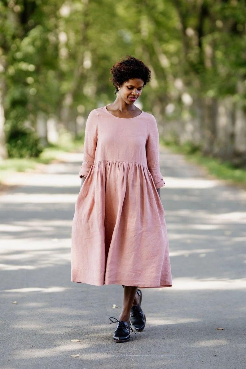 Linen Summer Dress Smock Dress Plus Size Linen Linen Etsy Smock Dress Summer Linen Dresses Pink Linen Dress [ 1191 x 794 Pixel ]