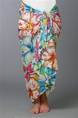 35c2bf1cb99fb Bright Hawaiian print sarong wrap in soft cotton. Wear it long or as a  dress. Makes a great swimsuit cover up.