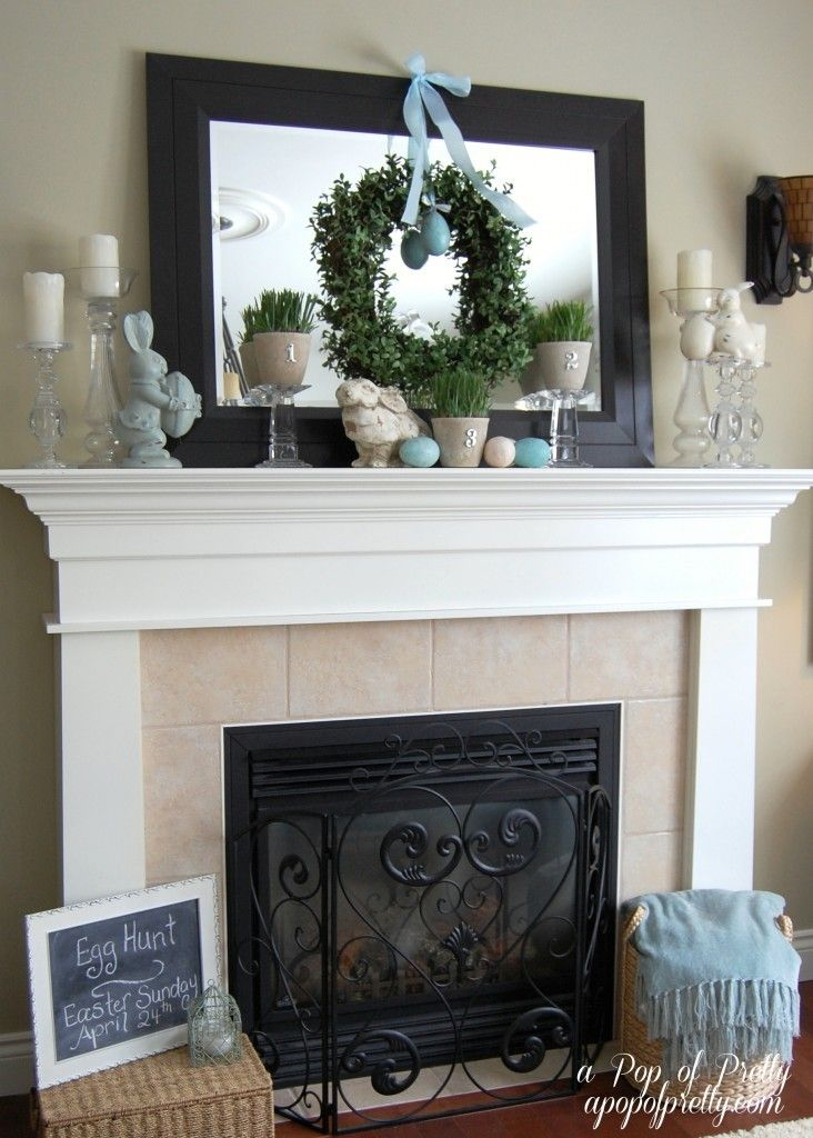 Easter Decorating Mantel Ideas three easter mantels {& other easy easter decorating ideas