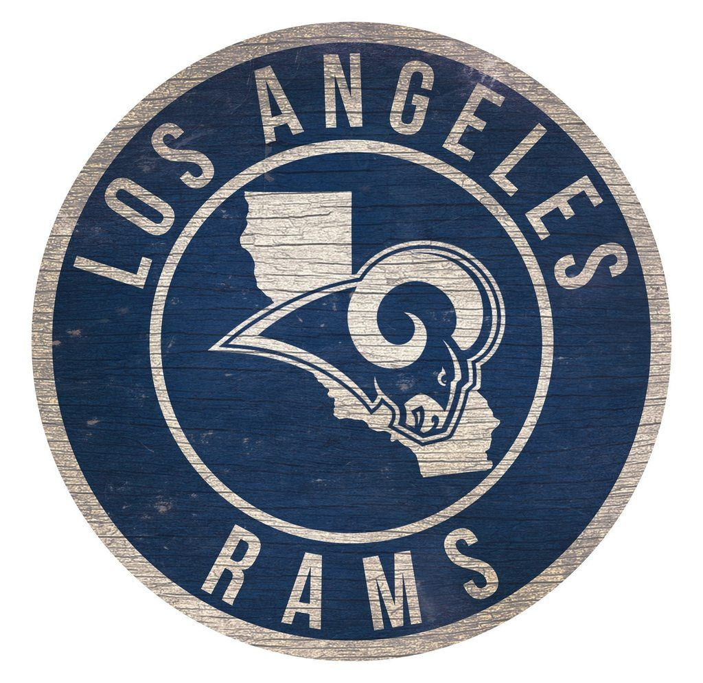 Los Angeles Rams Sign Wood 12 Inch Round State Design  4460ce5b29d