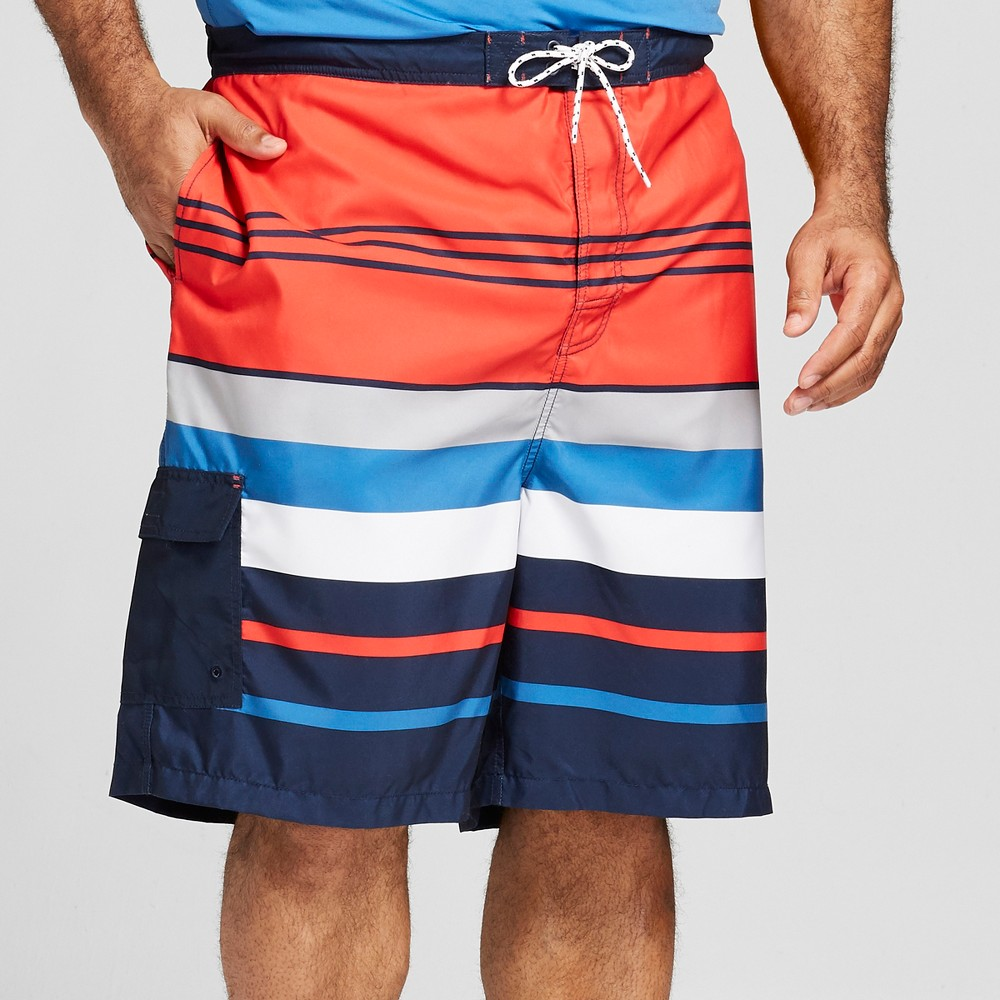 d3a224013c Men's 9 Striped Board Shorts - Goodfellow & Co Americana S, Blue
