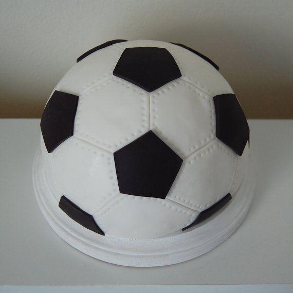 Fondant 3d Soccer Ball Cake Topper Etsy Soccer Ball Cake Soccer Ball Sports Themed Cakes