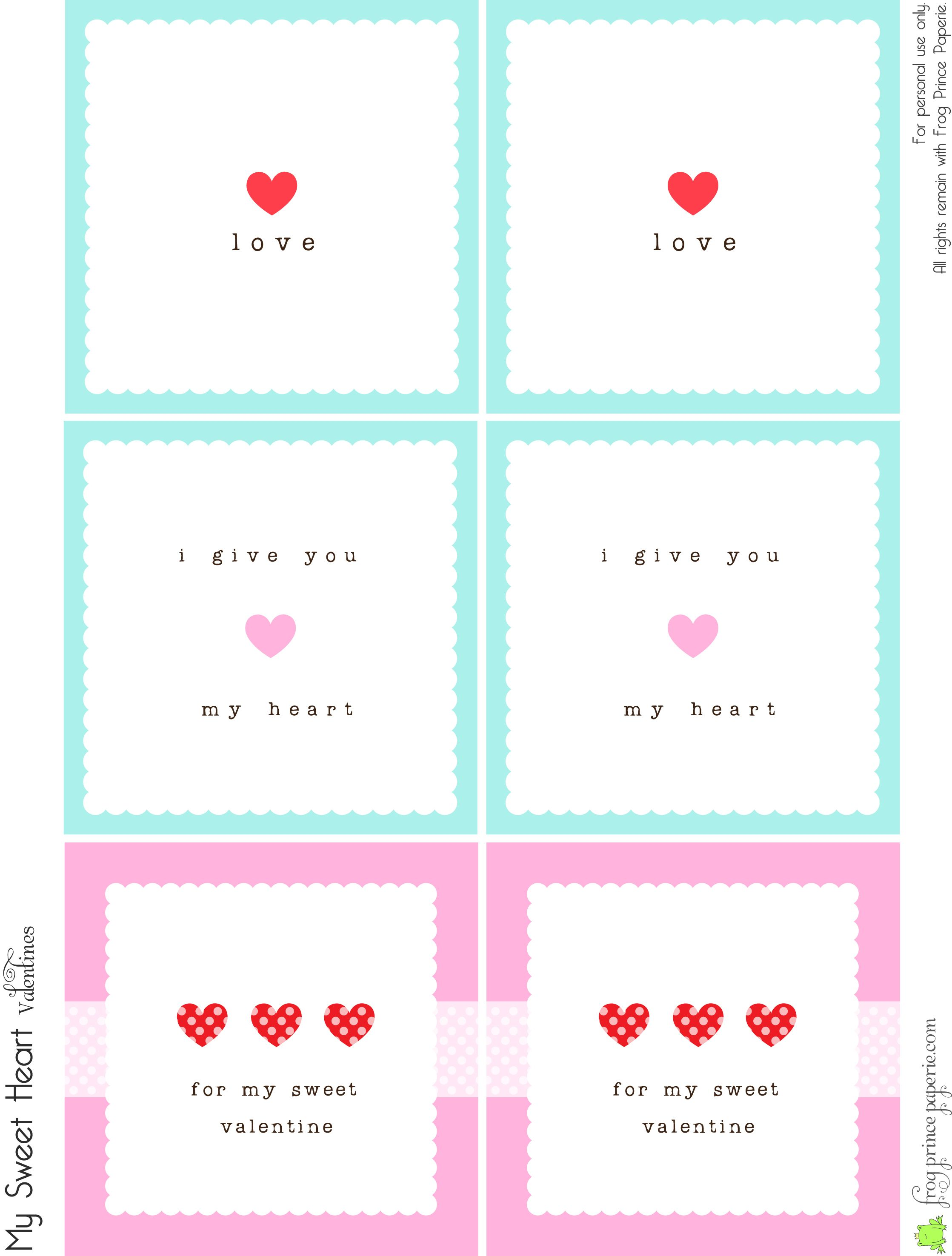 Free Valentines Lunch Box Notes Simple Valentines – Print Your Own Valentines Card