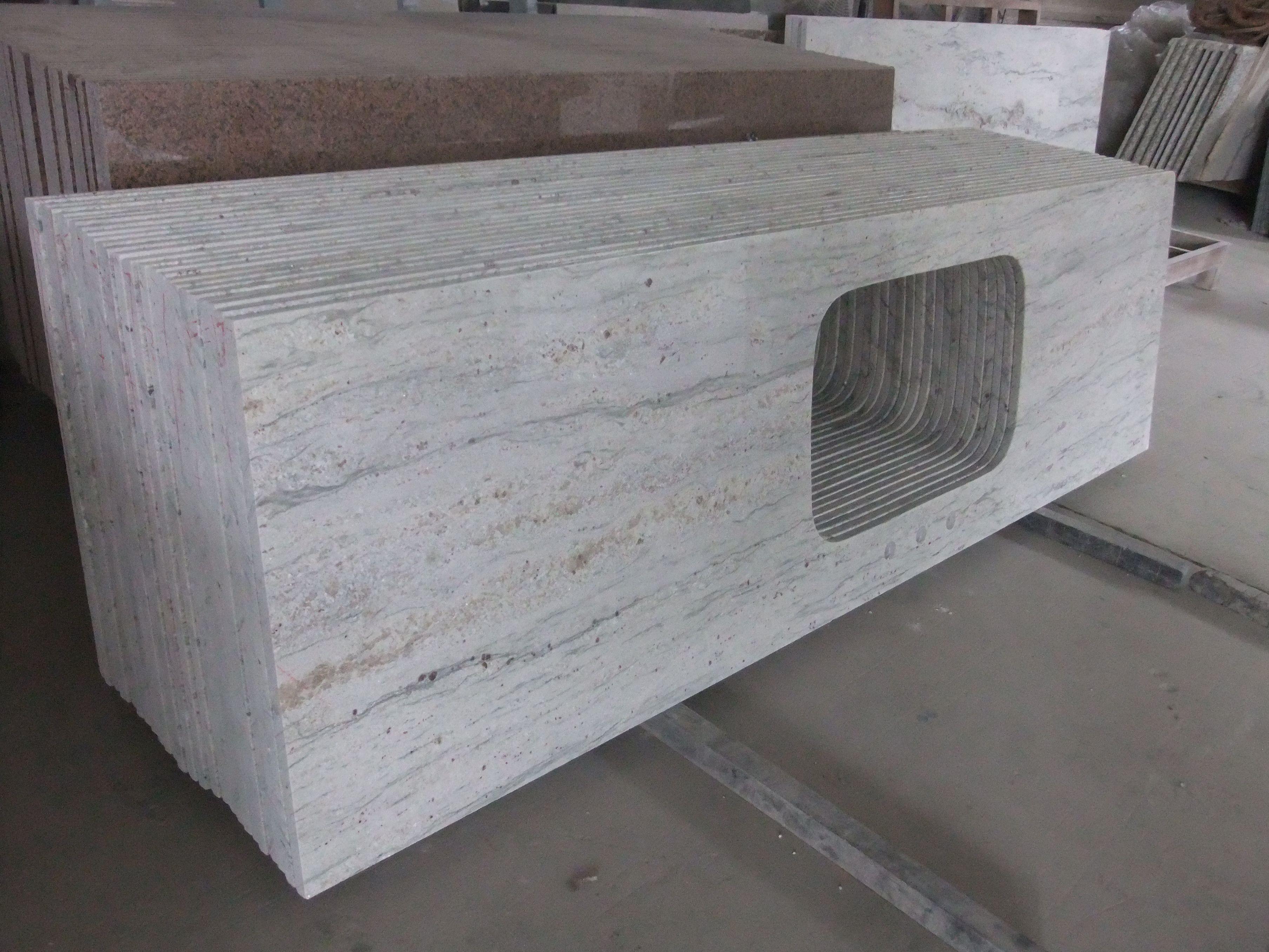 Newstar supply ngj102 river white granite granite countertop china factory xiamen prefab kitchen for Premade granite bathroom vanity tops