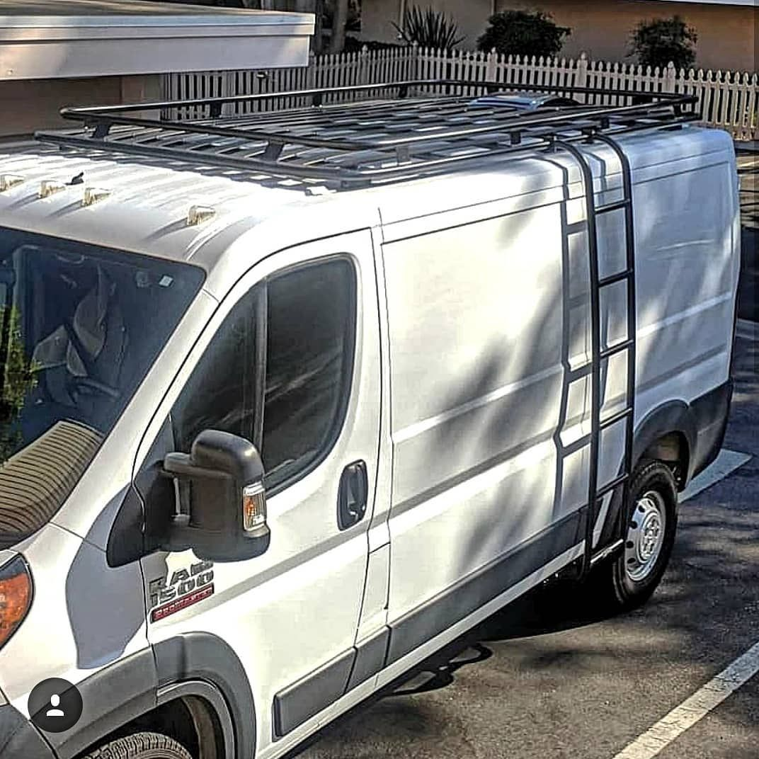 I Van Camp 2 And Thrva Added Some Real Estate To Their Promaster Van With An Aluminess Roof Rack And Ladder Aluminess Van Roof Rack Van Seat Covers