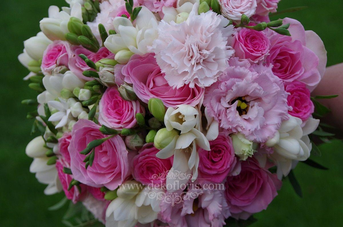 Bukiet Z Rozy Eustomy I Frezji Garden Rose Bouquet Pink Pink Rose Bouquet Wedding Flowers