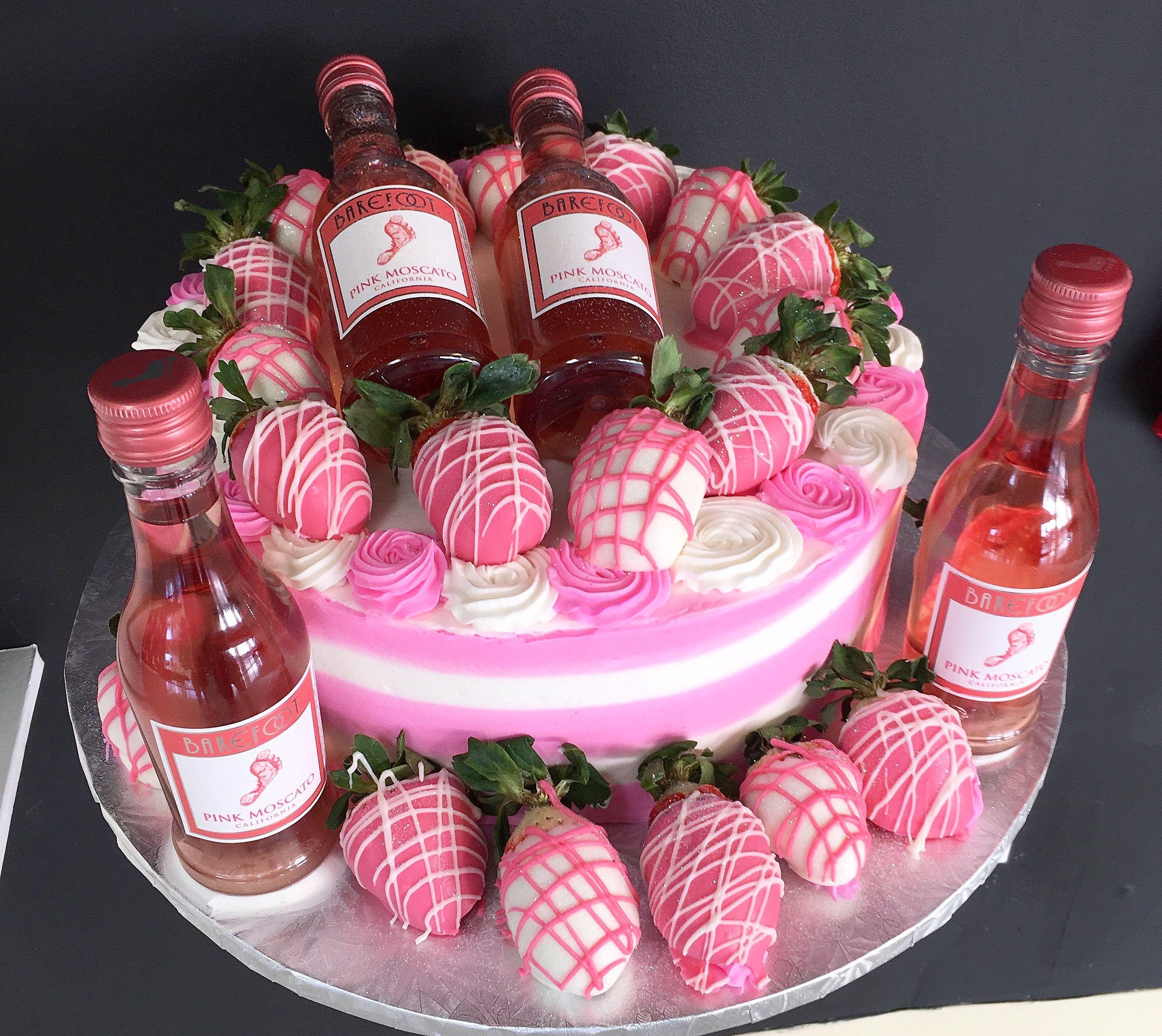 Vanilla Strawberry Pink Moscato Birthday Cake Cakessosimple Wine