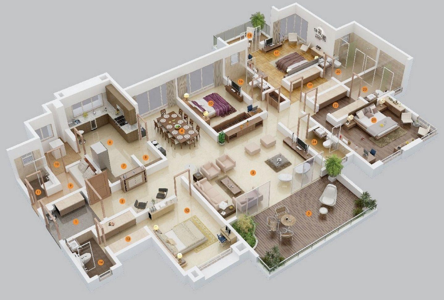 planos de casas modernas 3d