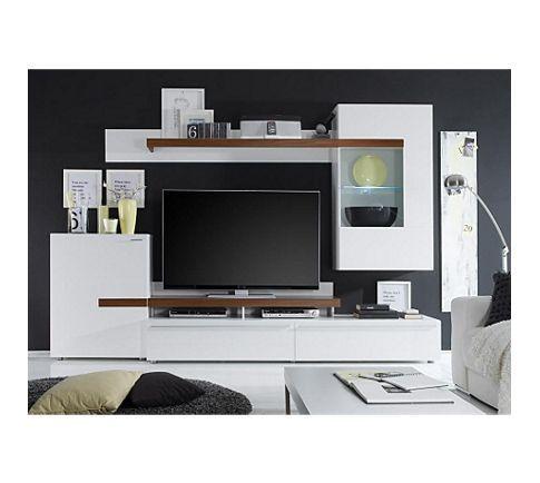 Jumbo Möbel Wohnwand Piano Weiß / Virginia Walnuss Mit TV Aufsatz
