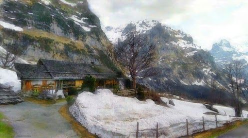 For +Artistic Google  Curated by +Jan McCartney , +Penelope Taylor and me.    Ischboden  A mountain home in Ischboden, Grindelwald, Swtizerland.  (from a Google Street View image)