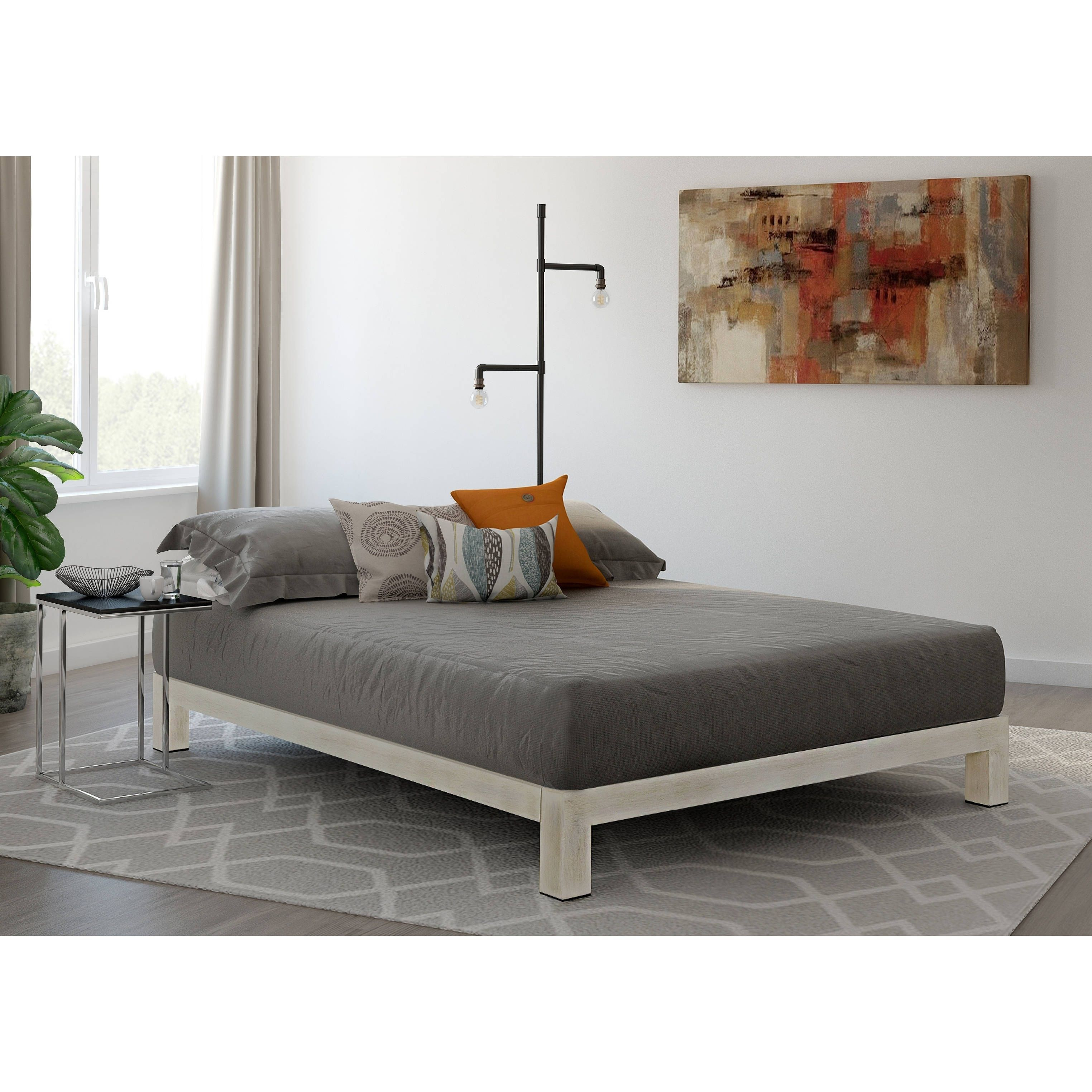 Vesta White Metal Slatted Platform Bed With Images Coastal Bedroom Furniture Wood Platform Bed Frame Bed Frame Sizes
