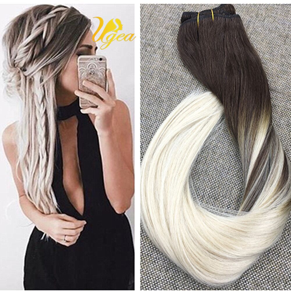 Ugea 8a Ombre Tape In Human Hair Extensions Ash Blonde With Platinum