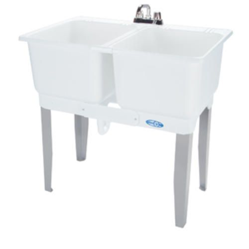 Mustee 36 In X 34 In Plastic Floor Mount Laundry Tub Combo Laundry Tubs Tub Flooring