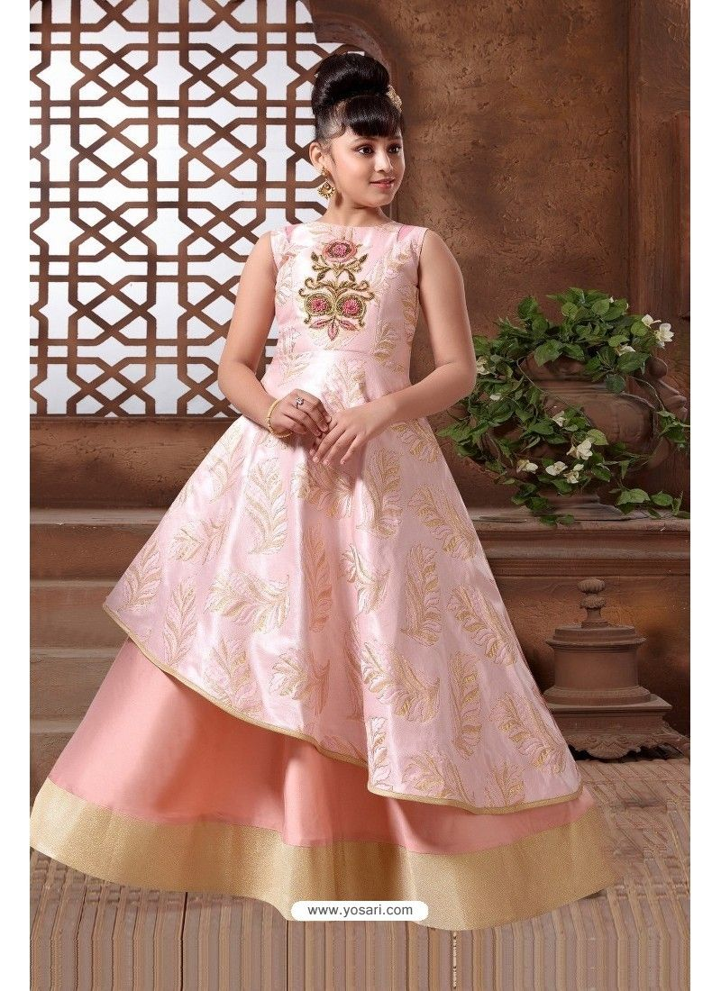 Baby Pink Silk Hand Worked Party wear Readymade Girls Gown  Kids