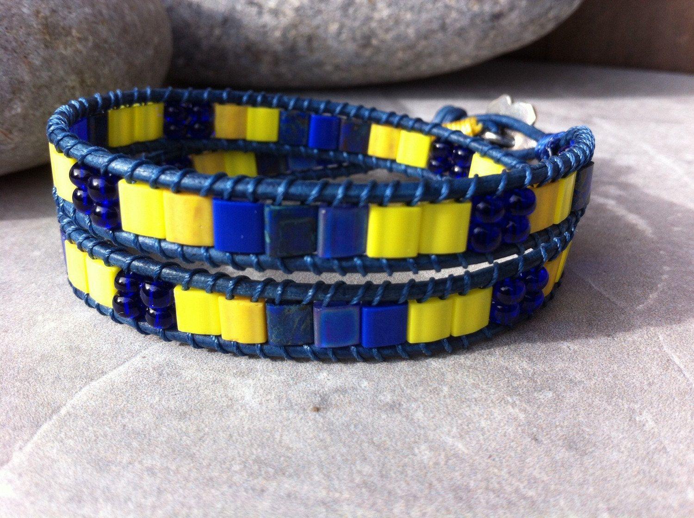 Miyuki Tila Bracelet, Double Wrap Bracelet, Warriors Basketball Inspired, Team Jewelry, Leather Beaded Bracelet, Spirit Wrap by LilPumpkinBeads on Etsy