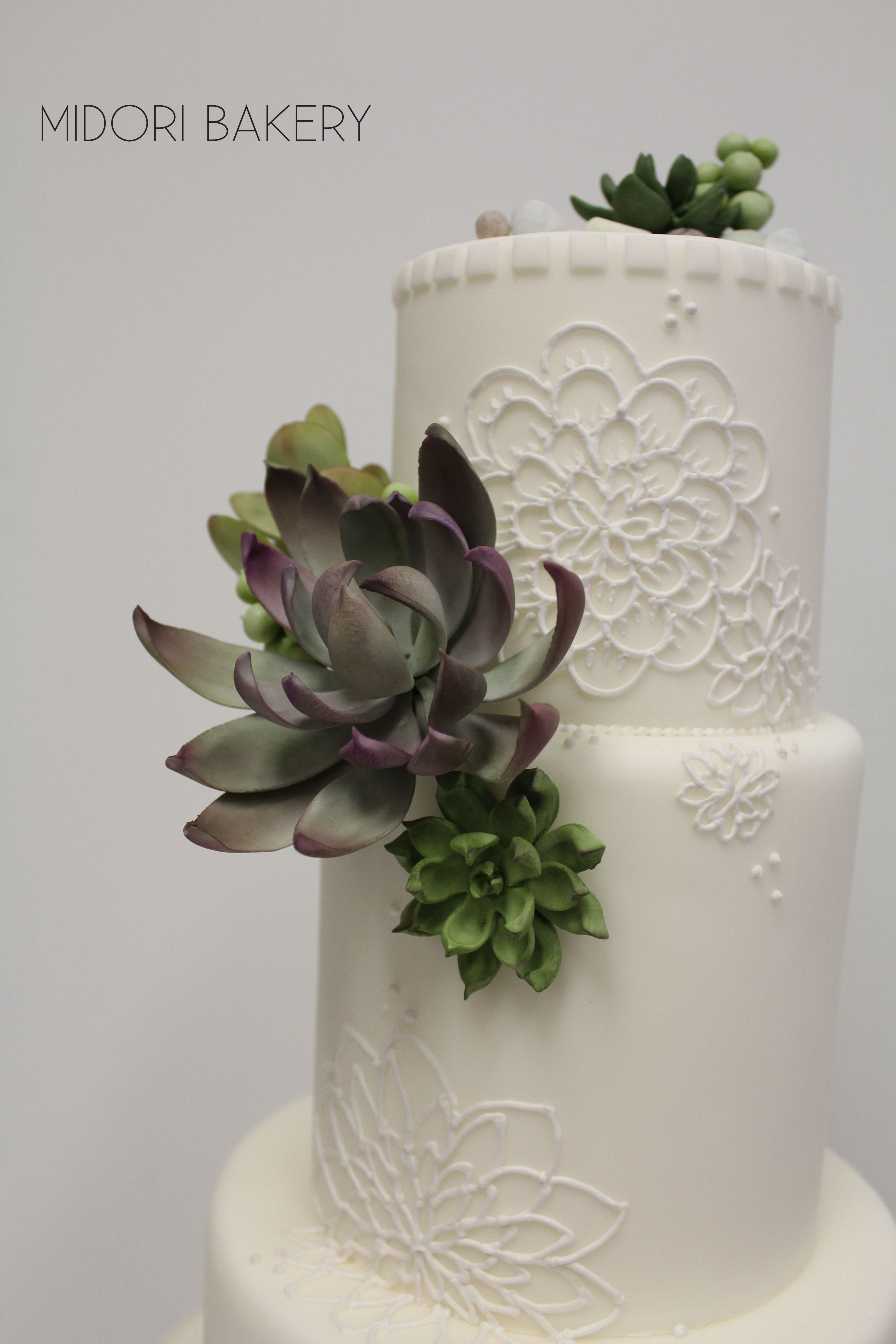 White Wedding Cake With Hand Piping And Made Sugar Succulents By Midori Bakery