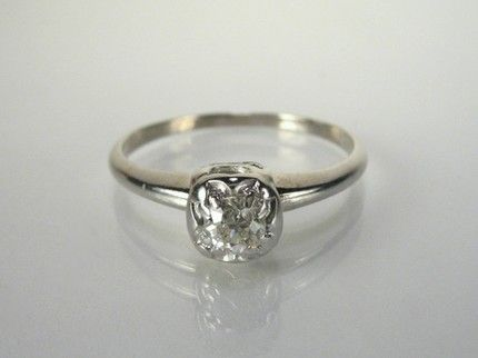 Simple Vintage Wedding Ring With Illusion Setting Soooo Pretty