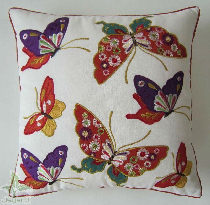 de algodón de lino y bordados de mariposa hermosa bordado cojín-Cojines-Identificación del producto:498231904-spanish.alibaba.com