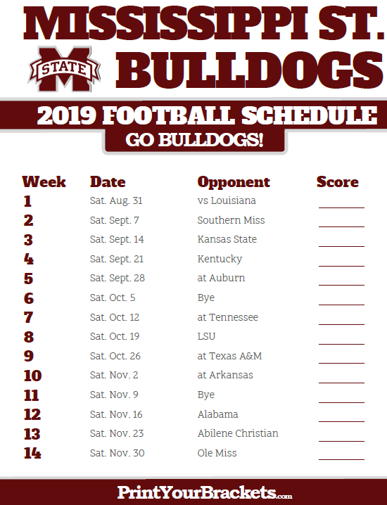 2019 Mississippi State Bulldogs Football Schedule Printable