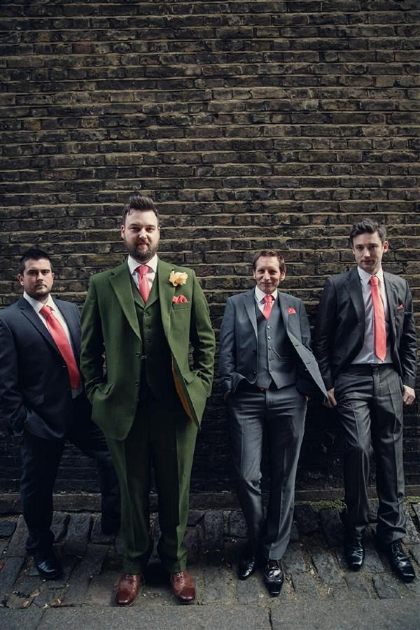 An Eclectic Vintage Party Coral Wedding in London | Tweed, Groom ...