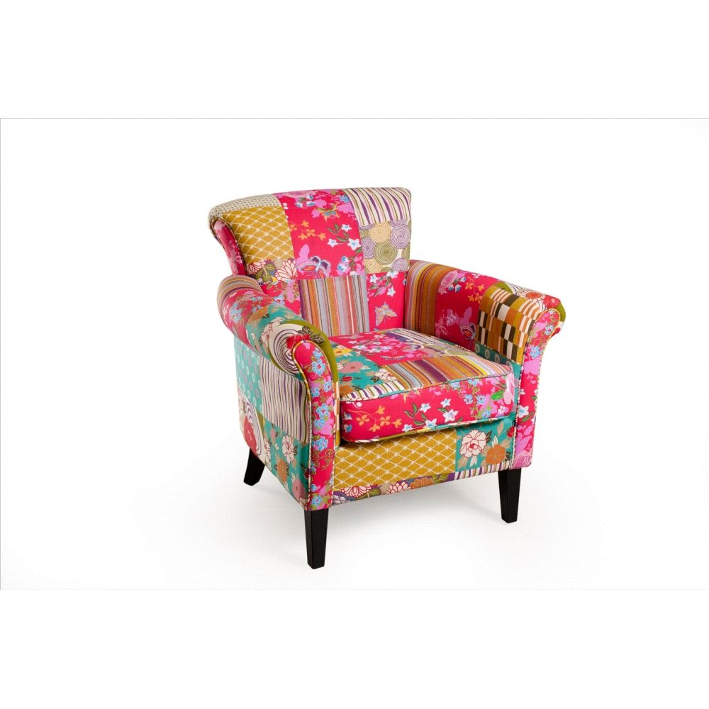Favori Petit fauteuil salon patchwork tissu bohème | A1b - Salon  NZ61