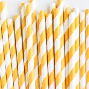 Paper Straws: Sunflower Stripes
