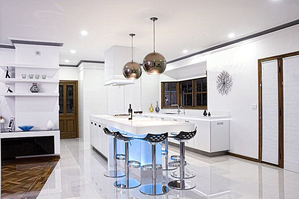 12 Kitchens With Neon Lighting Modern Kitchen Design White Modern Kitchen Modern Kitchen Lighting