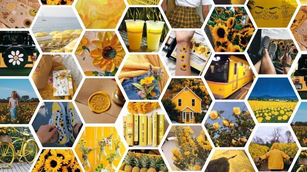 Yellow Hexagon Aesthetic Wallpaper Yellow Bright Blue Summer Flower Field Sunflowers Vans Shoes Cl Geometric Shapes Art Computer Wallpaper Aesthetic Wallpapers