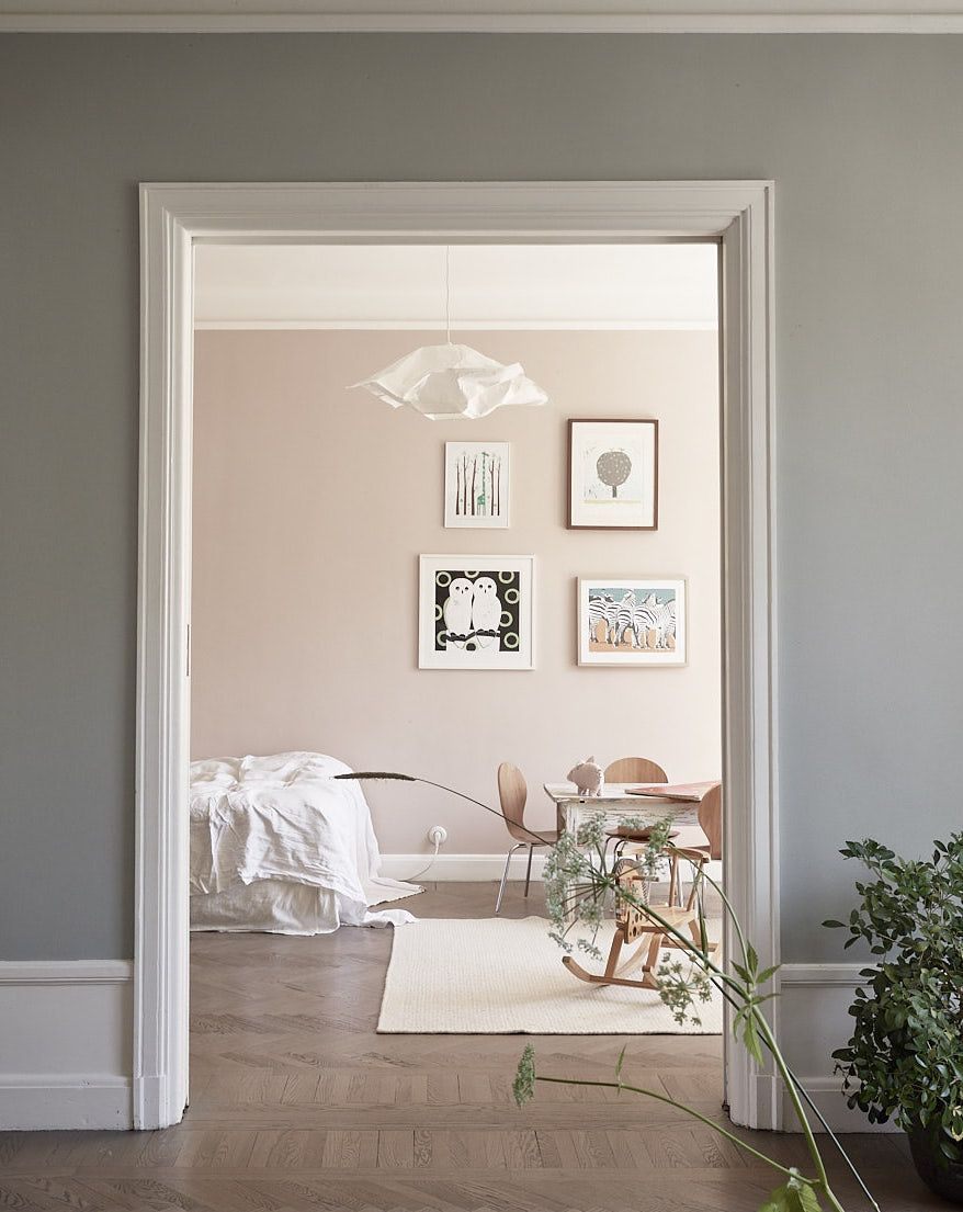The Kids Room Is Painted In A Nude Pink Color, Which Looks Soft And Vibrant.  The Color Of The Kids Room Peeps Through The Wing Doors Of The Living U2026