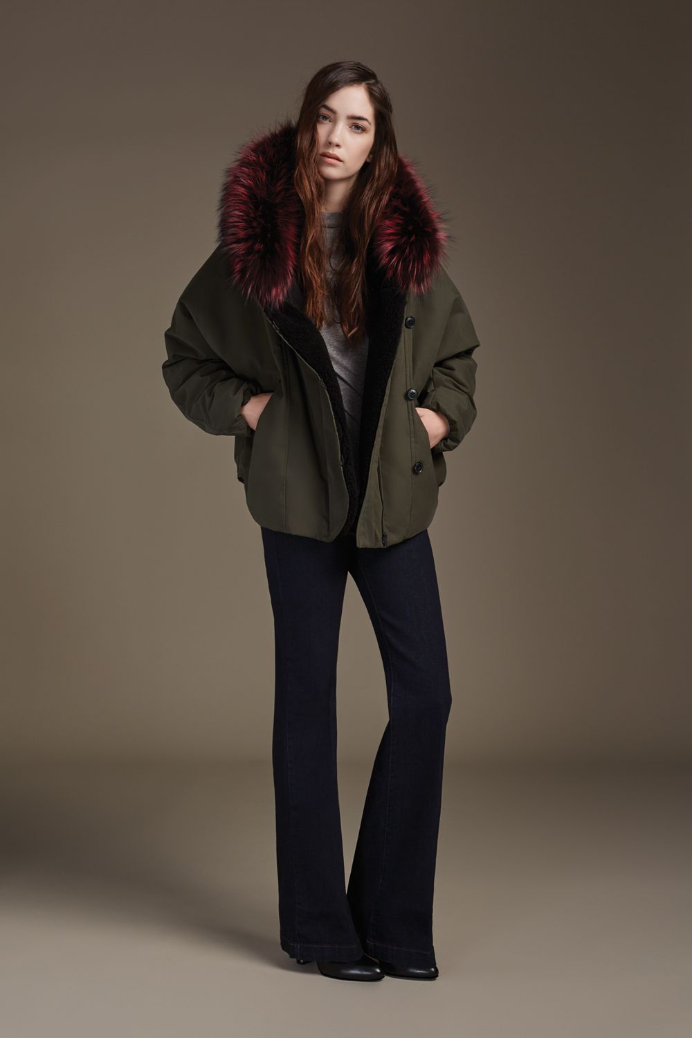 MADELYN is a bomber fit down-filled jacket with oversize hood and removable coloured fur trim. The water resistant microfiber shell, Sherpa lining and asymmetrical closure add extra warmth. This statement jacket is perfect for a cold day in the city or a winter country get-away. Discover at http://www.soiakyo.com/ca/en/madelyn-bomber-fit-down-jacket-with-removable-fur-in-moss-for-women