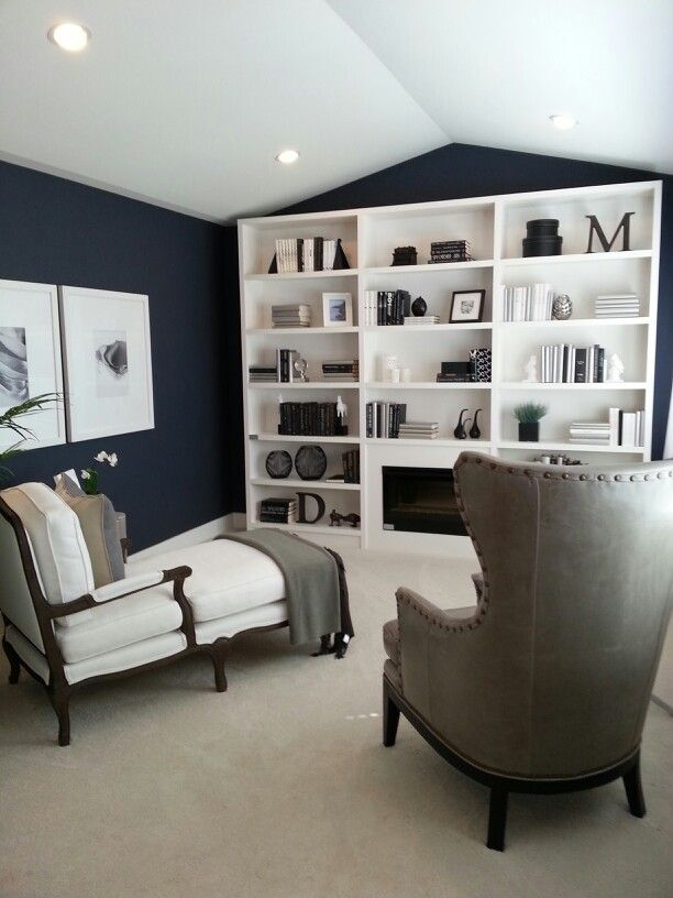 Reading Room For The Upstairs Living Area Love The Paint Color Navy Gray Each Family Member Chooses A Cozy Relaxation Room Reading Room Formal Living Rooms