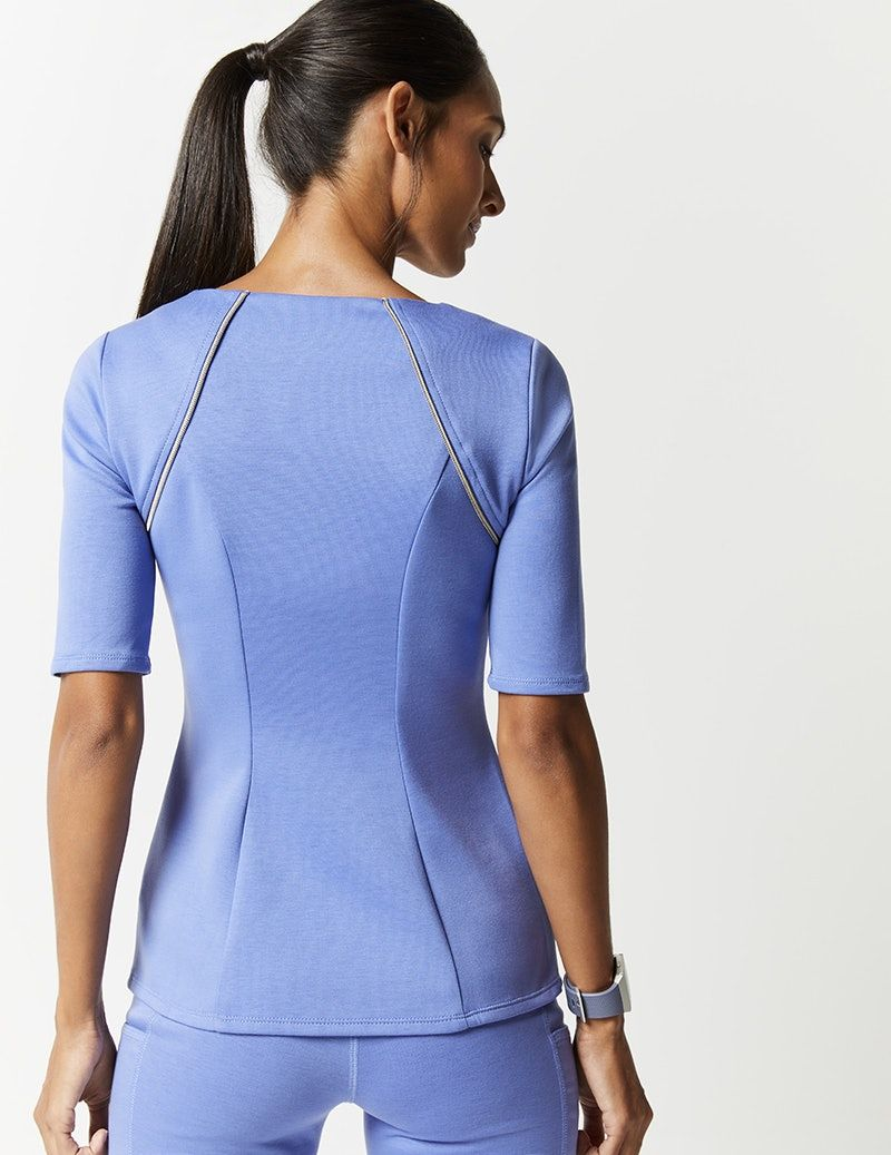 Exposed Zipper Top in Ceil Blue - Medical Scrubs by Jaanuu