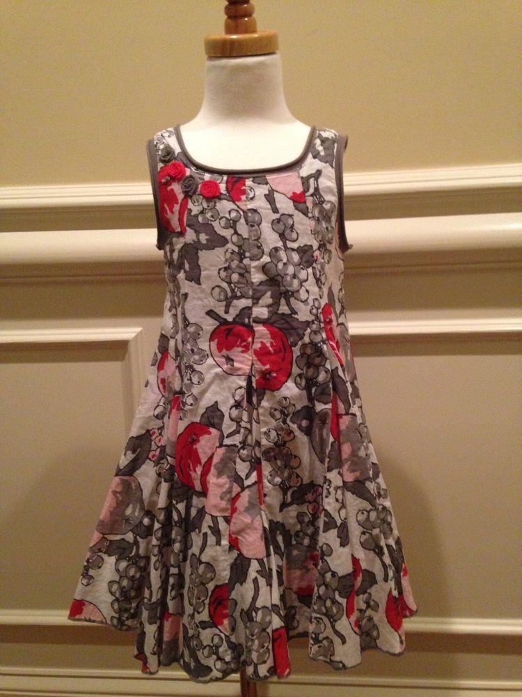 Eliane et Lena Size 5 Virtuelle Sleeveless Gray Red White Apple Rosette Dress