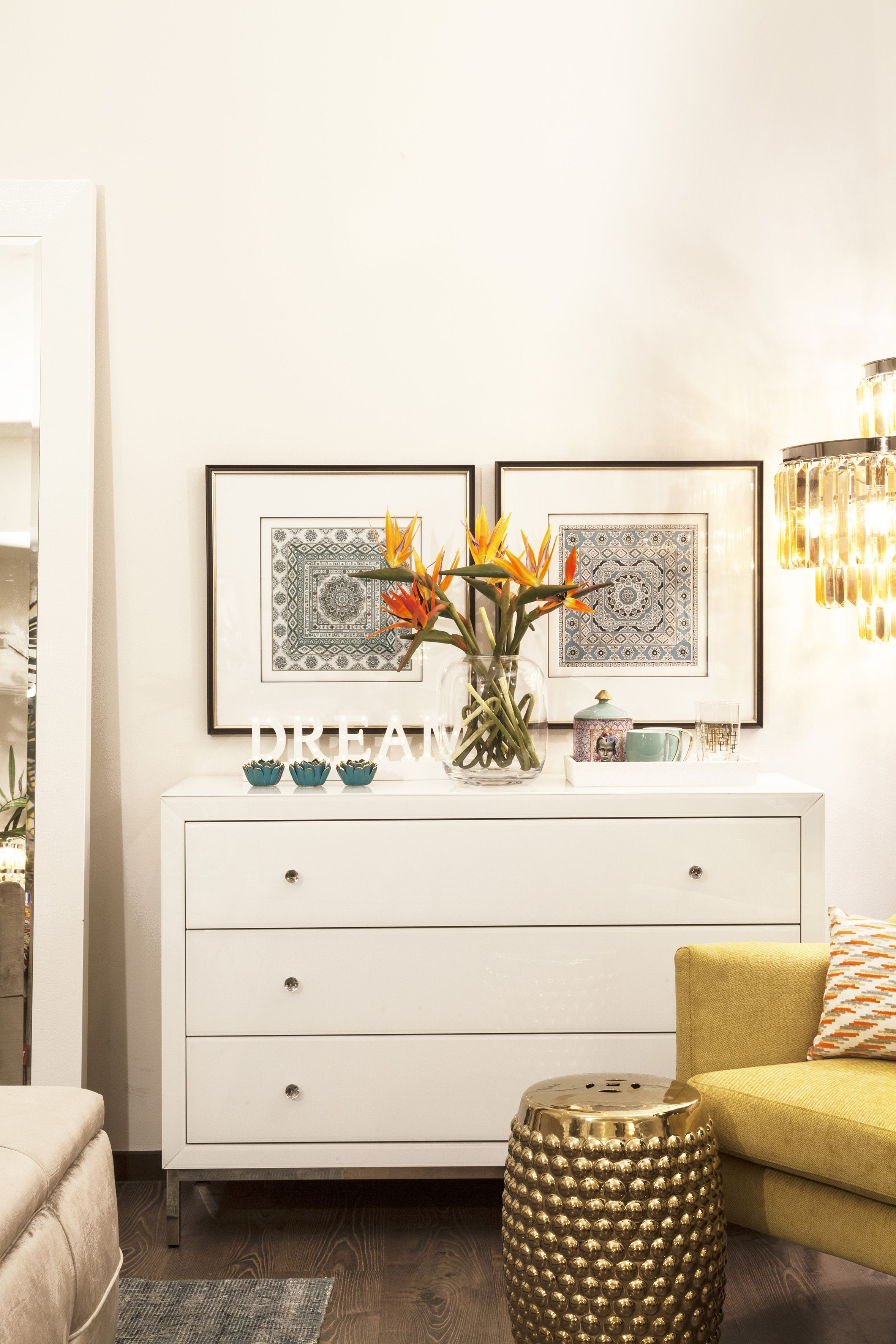 Good Bedroom | Opulent: White Wooden Chest Of Drawers With Pops Of Colour And  Mainly Golden Nice Design