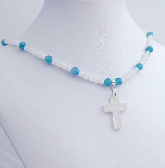 Rock crystal stone cross blue quartz pendant necklace quartz rock crystal stone cross blue quartz pendant necklace aloadofball Gallery