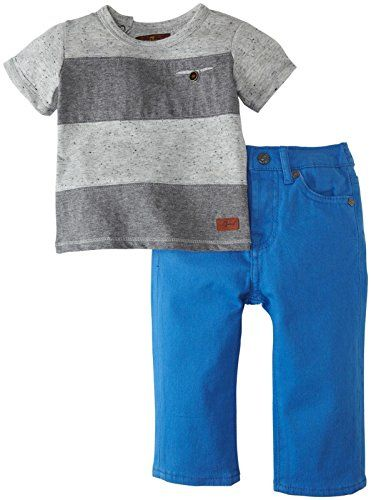 7 for all mankind Baby Boys Striped T Shirt and Bright Short ...