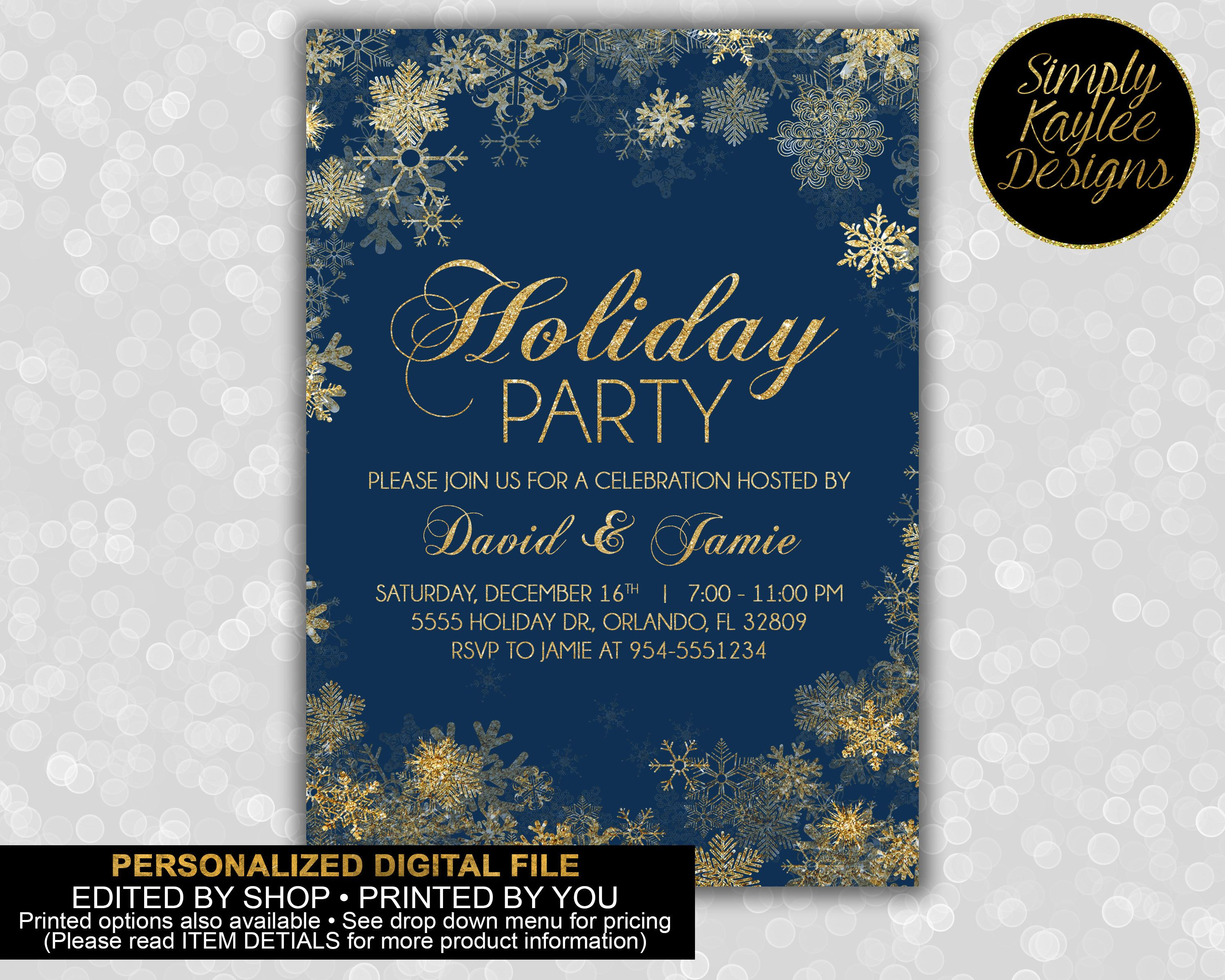 Blue and Gold Snowflake Holiday Party Invitation Holiday