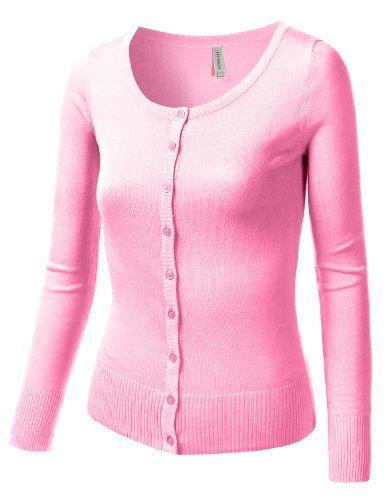 154d2358b J.TOMSON Womens Basic Long Sleeve Cardigan Sweater LIGHT PINK MEDIUM ...