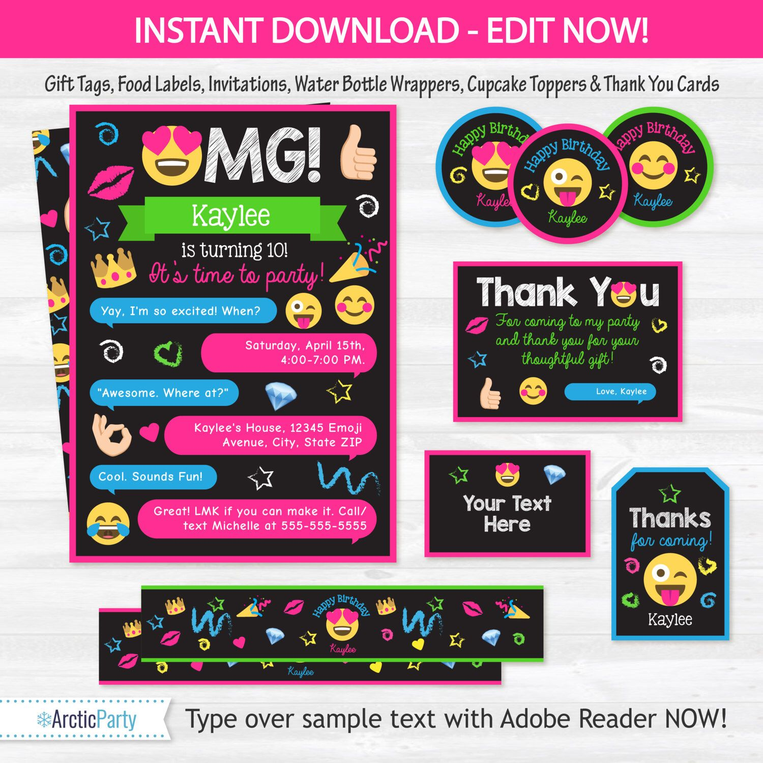 Emoji Party Invitations Emoji Party Supplies Emoji Party – Party City Invitations for Birthdays