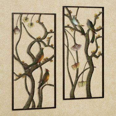 Asian garden metal wall panel art set