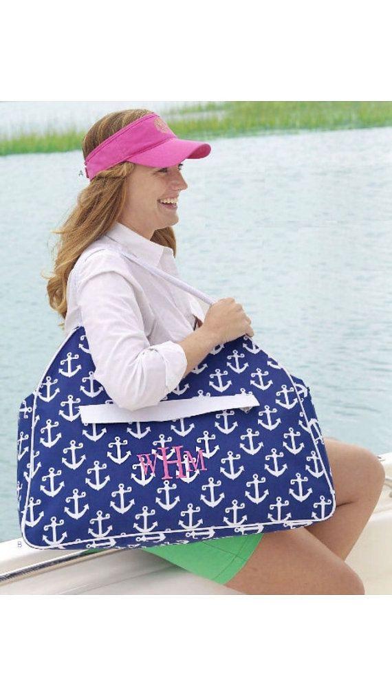 Personalized Tote Bag Pool Bag Anchor Tote Bag Bridesmaid Gift Large Tote Beach Bag Navy Anchor Beach Bag Monogrammed Tote